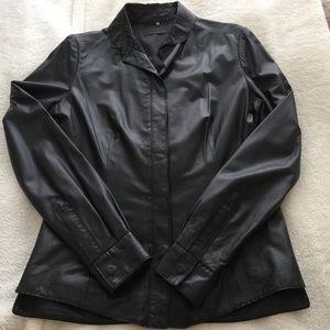 Elie Tahari Black Lambskin Leather Shirt/Jacket S